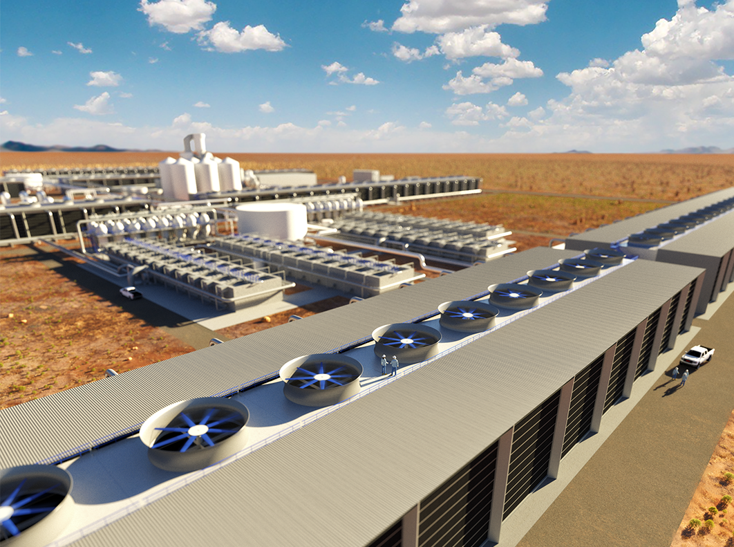 Rendering showing a 'first look' of what will be the world's largest Direct Air Capture facility, currently being engineered by Carbon Engineering and 1PointFive